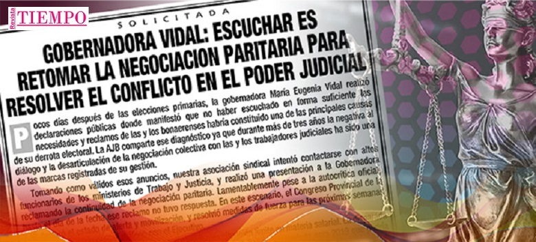 GOBERNADORA VIDAL: ESCUCHAR ES RETOMAR LA NEGOCIACIÓN